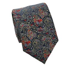 Blue Tie with Ocher Paisley