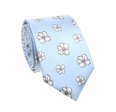 Sky Blue Natural Silk Tie with Flowers