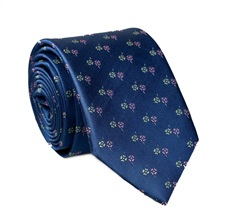 Blue Flowers Natural Silk Tie