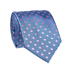 Blue Tie with Pink Dots
