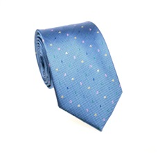 Blue Natural Silk Tie with Numbers