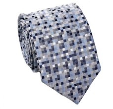 Blue Tie with Geometric Design