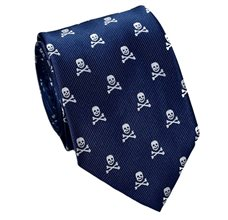 Dark Blue Tie with Skulls