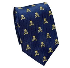 Dark Blue Tie with Yellow Skulls