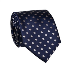 Navy Blue Tie with Grey Dots