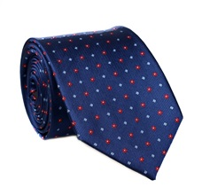 Dark Blue Flowers Natural Silk Tie