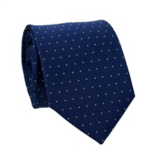 Navy Blue Tie with White Dots