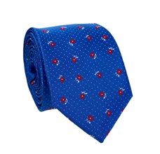 Royal Blue Tie with Red Roses