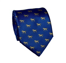 Blue Silk Tie with Yellow Horses