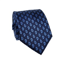 Dark Blue Paisley Natural Silk Tie
