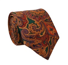 Brown and Green Paisley Natural Wool Tie