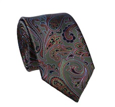 Green Paisley Natural Silk Tie