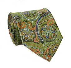 Green Paisely Natural Silk Tie