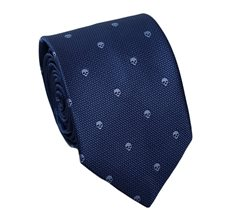 Blue Teenager's Tie with Skulls