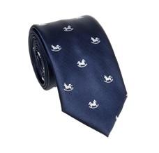 Dark Blue Teenager's Tie with White Horses