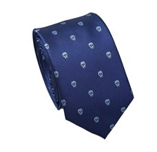 Dark Blue Teenager's Tie with Skulls