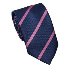 Blue Teenager's Tie with Pink Stripes