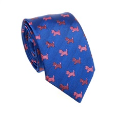 Royal Blue Teenager's Tie with Pink Schnauzer