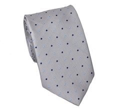 Grey Teenager's Tie with Blue Dots