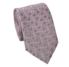 Grey Teenager's Tie with Pink Paisley