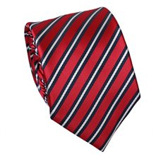 Red Teenager's Tie with Dark Blue Stripes