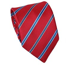 Red Teenager's Tie with Royal Blue Stripes