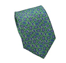 Green Silk Teenager's Tie with Paisley