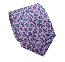 Pink Silk Teenager's Tie with Paisley