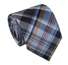 Blue and Beige Checked Tie