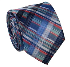 Blue Tartan Natural Silk Tie