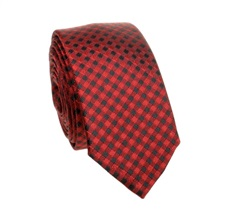 Black and Garnet Checked Slim Tie