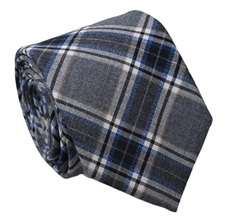 Grey and Blue Checked Tie