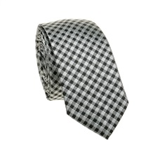 Grey and Black Checked Slim Tie