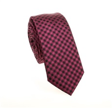 Black and Magenta Checked Slim Tie