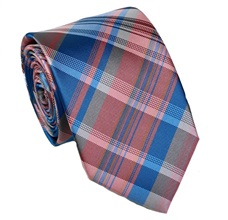 Pink and Blue Tartan Tie
