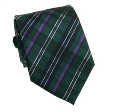 Green and Purple Tartan Tie