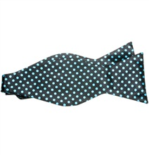 Black Self Bow Tie with Turquoise Dots