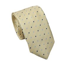 Yellow Slim Tie with Blue Dots