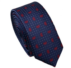 Dark Blue Skinny Tie with Red Paisley