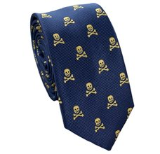 Blue Slim Tie with Yellow Skulls