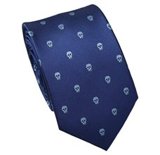 Dark Blue Slim Tie with Skulls