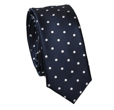 Blue Slim Tie with White Dots