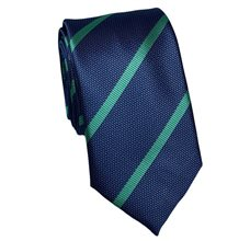 Blue Slim Tie with Green Stripes