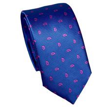 Royal Blue Slim Tie with Paisley
