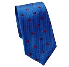 Royal Blue Slim Tie with Red Paisley