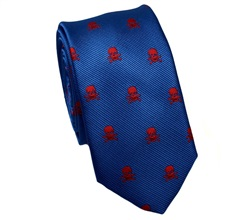 Royal Blue Slim Tie with Skulls
