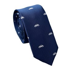 Navy Blue Slim Tie with Cars