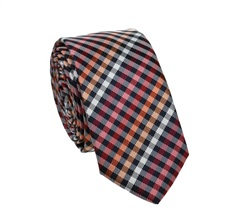 Navy Blue and Red Checked Slim Tie