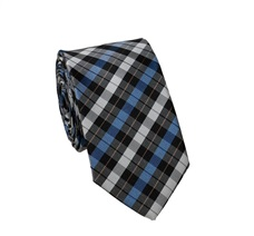 Blue and Black Checked Slim Tie