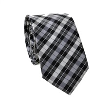 Black and Grey Tartan Slim Tie